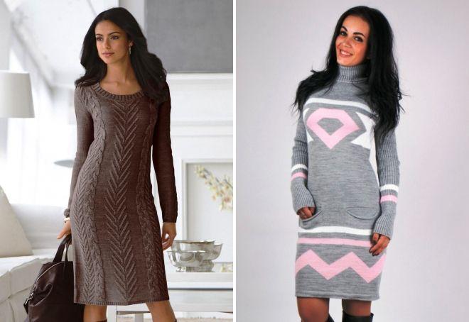 длинное платье свитер