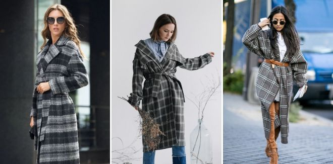 Kelabu Plaid Coat
