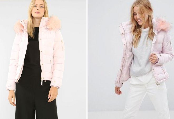 hvítur jakka með bleikum skinn