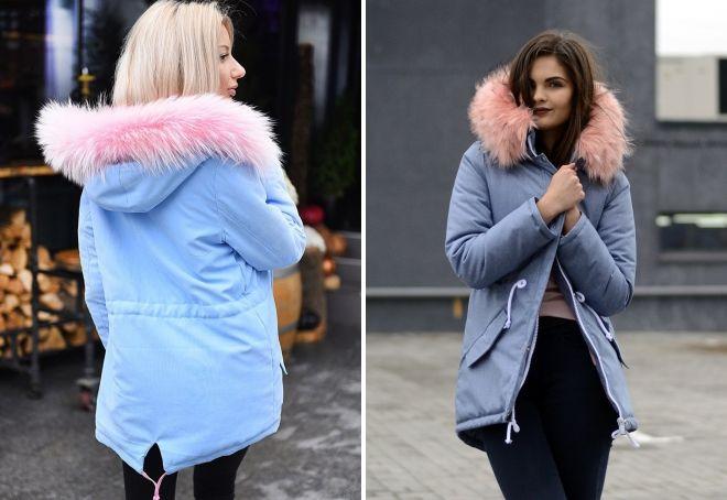 blár jakka með bleikum skinn