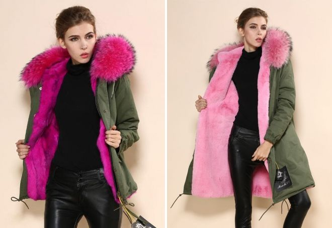 tíska jakkar með bleikum skinn
