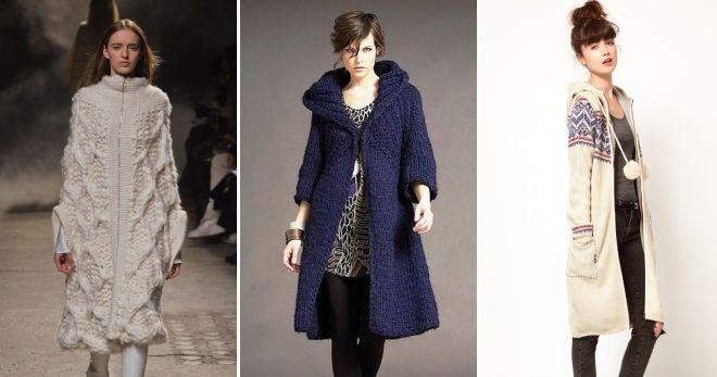 Вязаное пальто на молнии