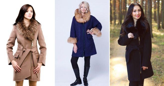Пальто с мехом на молнии кашемир