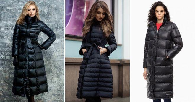 Пуховые пальто на молнии черное