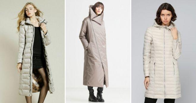 Пуховые пальто на молнии бежевое