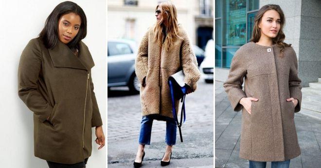 Пальто оверсайз на молнии коричневое