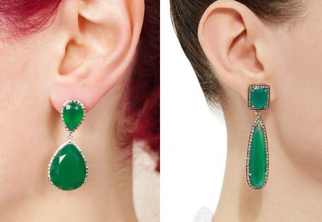 boucles d'oreilles avec émeraude artificielle
