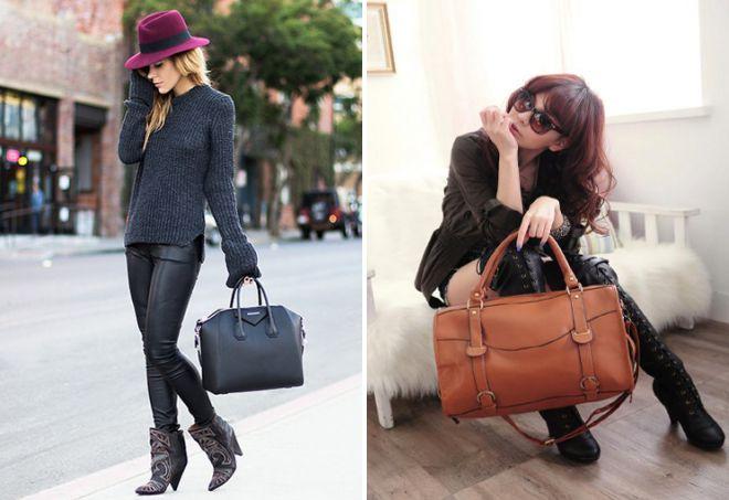 женская сумка саквояж с чем носить