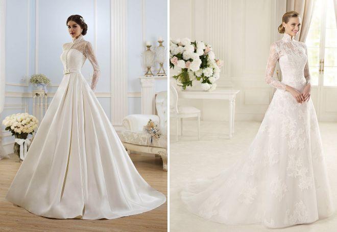 свадебные платья со стойкой воротником
