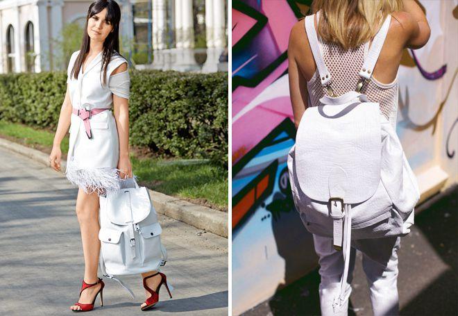 Белый женский кожаный рюкзак