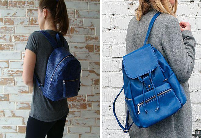 Синий женский кожаный рюкзак