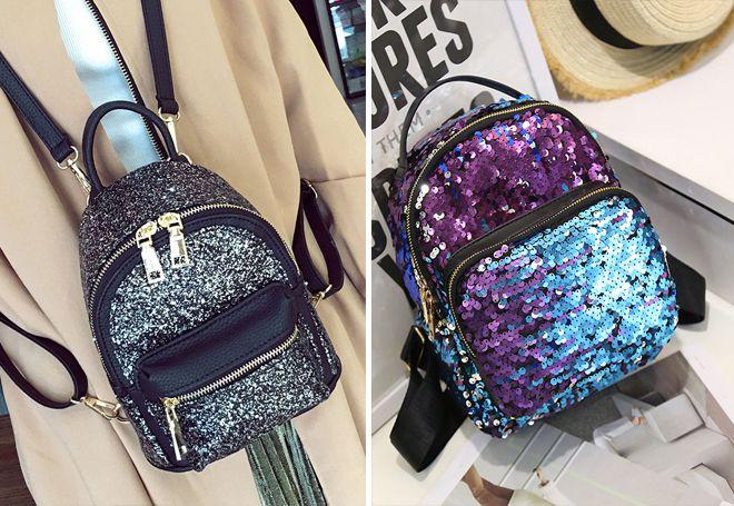 Блестящие кожаные рюкзаки