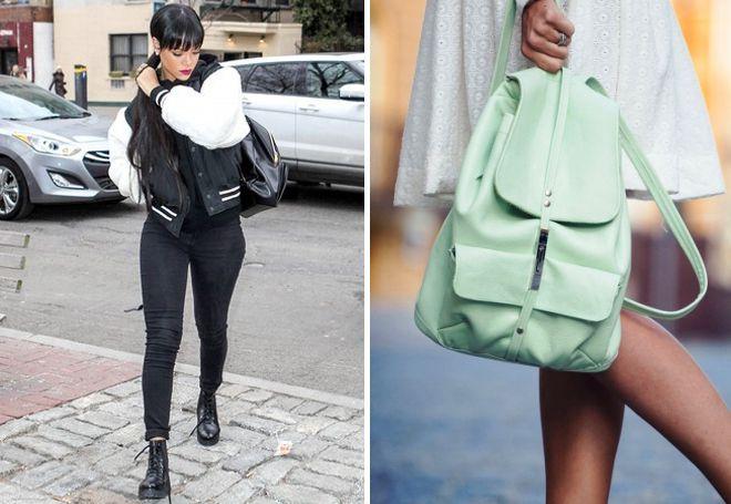 Женский городской кожаный рюкзак