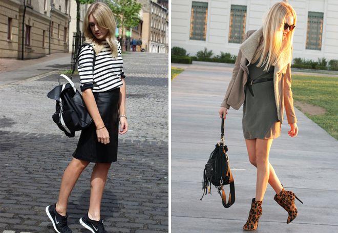Черный женский кожаный рюкзак