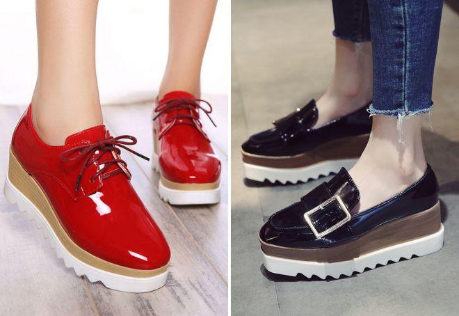 женские туфли на платформе без каблука