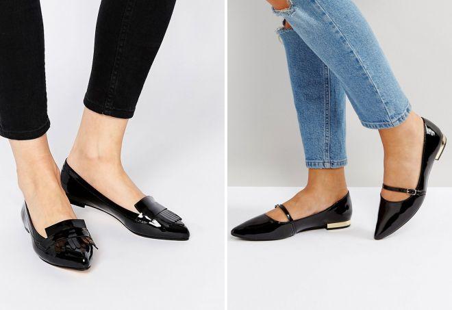 лакированные женские туфли без каблука