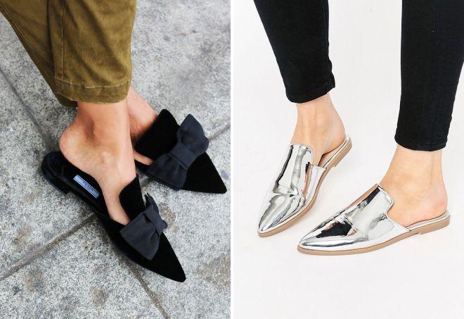 туфли мюли без каблука