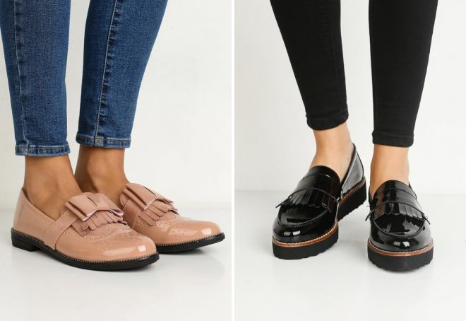 лаковые туфли без каблука