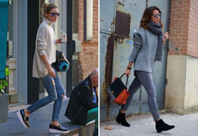 объемный свитер с джинсами