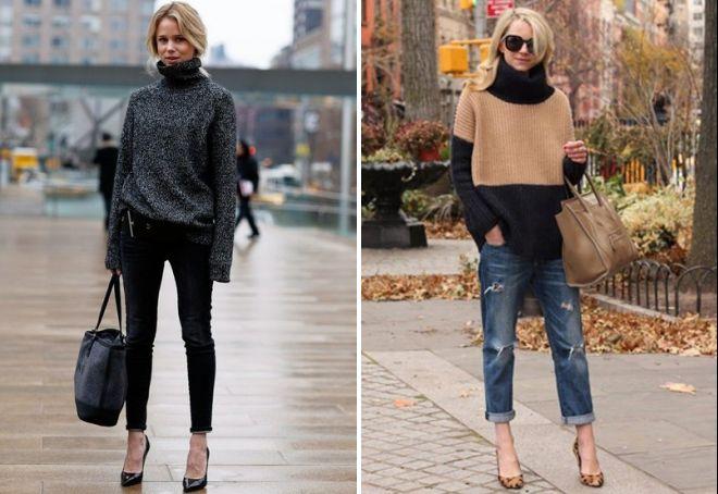 женский вязаный объемный свитер