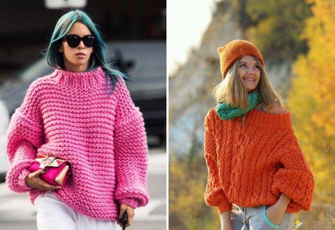 объемные свитера крупной вязки