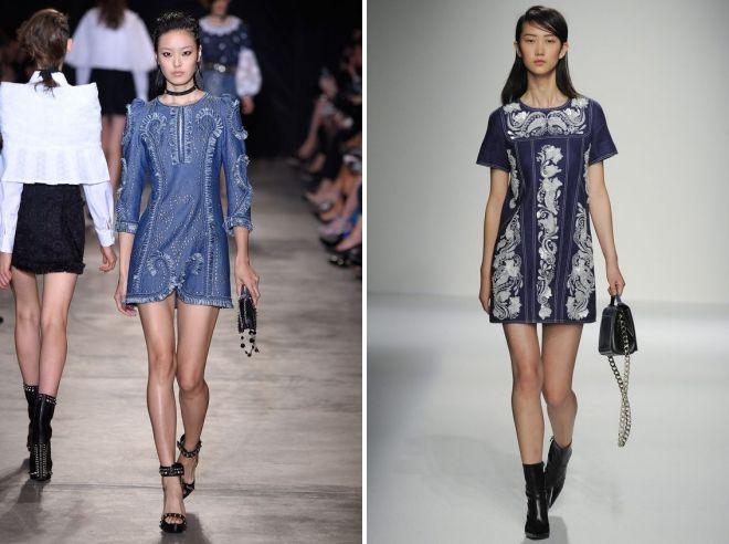 джинсовое платье с вышивкой
