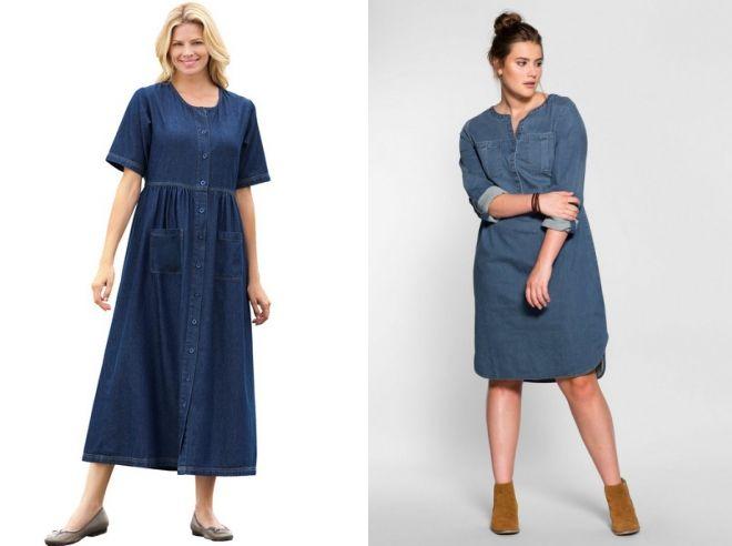 джинсовые платья для полных женщин