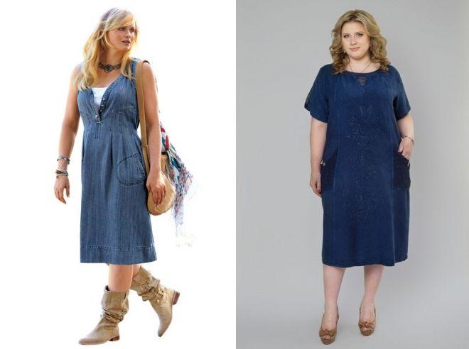 джинсовое платье для полных