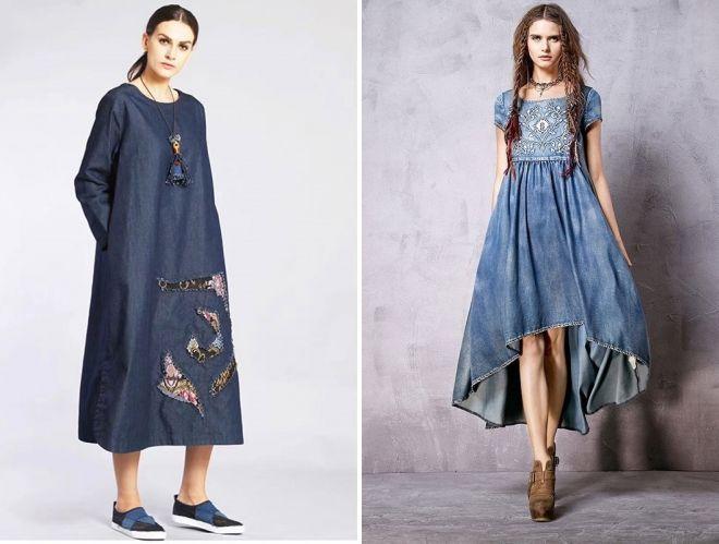 джинсовое платье в стиле бохо