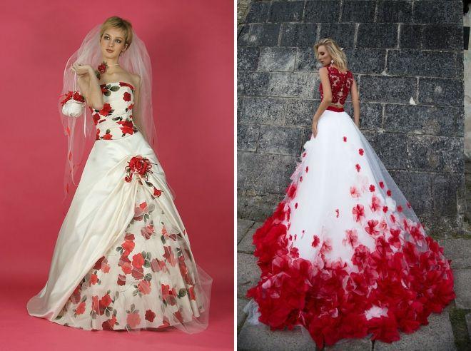 свадебные платья с красными цветами