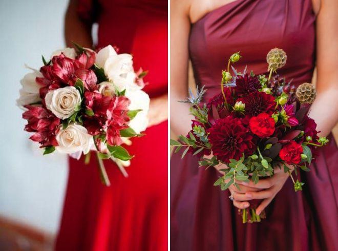 свадебный букет к красному платью