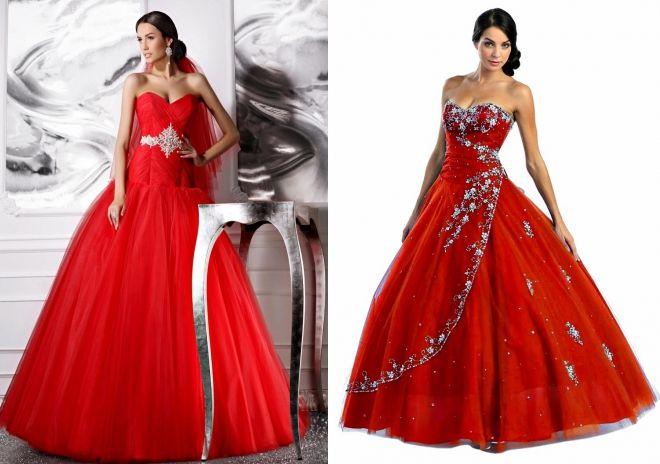 красные пышные свадебные платья