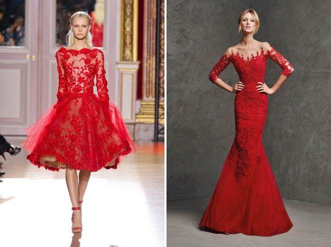 красное свадебное кружевное платье