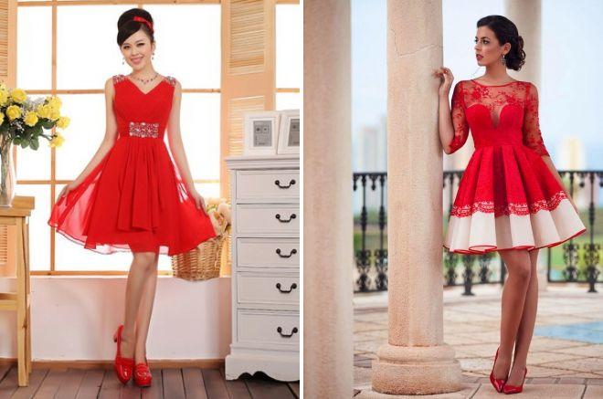красные короткие свадебные платья