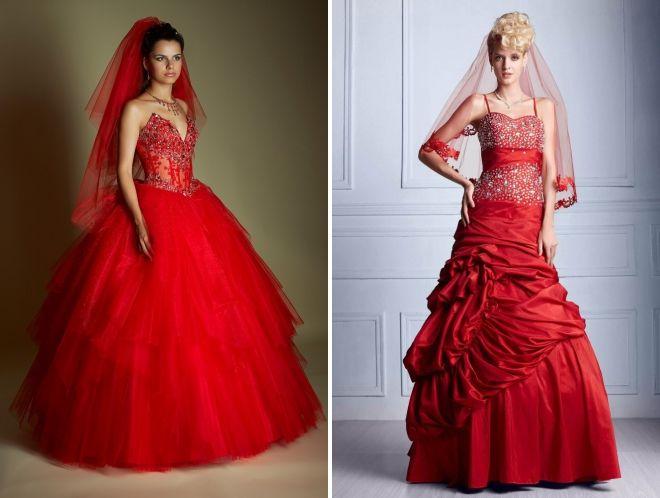 красное свадебное платье с фатой