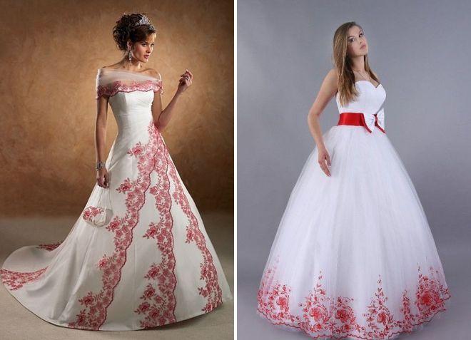 свадебные платья с красной вышивкой
