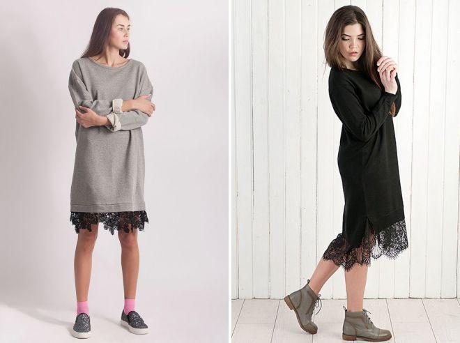 с чем носить платье свитшот