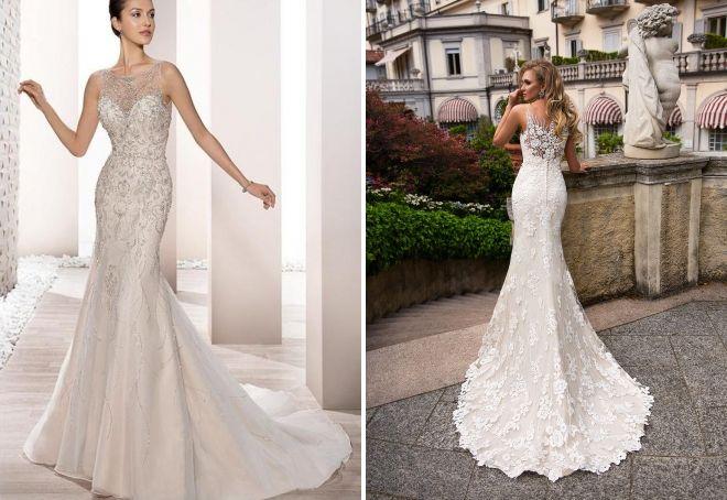 свадебные платья со шлейфом и стразами