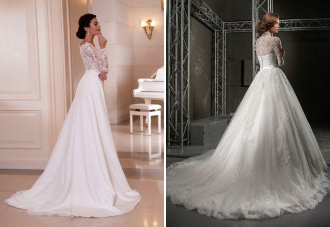 закрытое свадебное платье со шлейфом