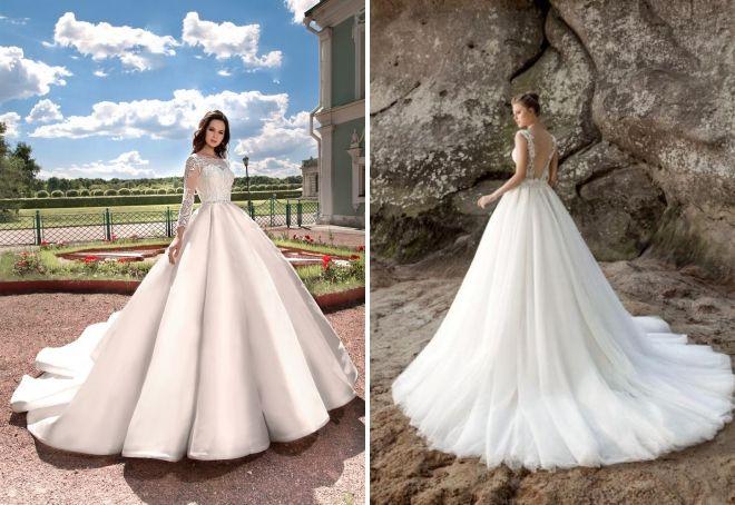 свадебные платья кекс со шлейфом