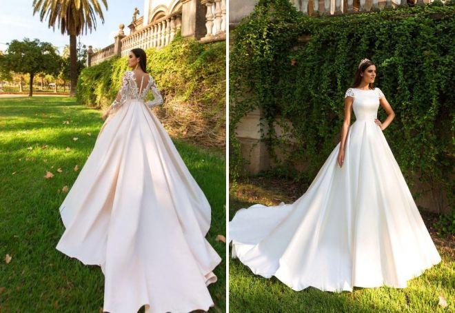 модные свадебные платья со шлейфом