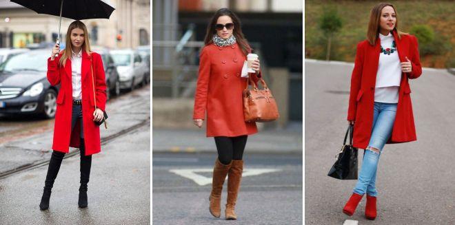 с чем сочетать красное пальто