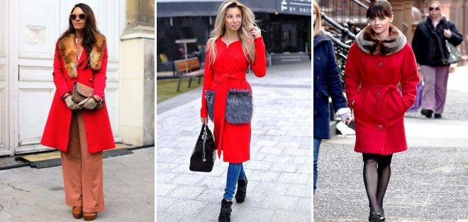 красное пальто с мехом