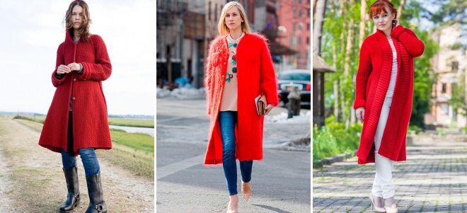 красное вязаное пальто