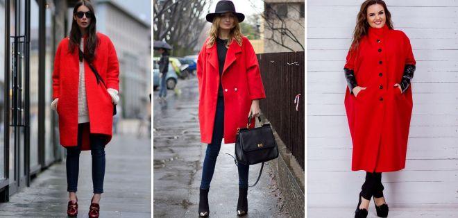 красное пальто оверсайз