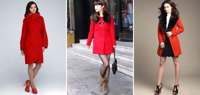 красное пальто с воротником