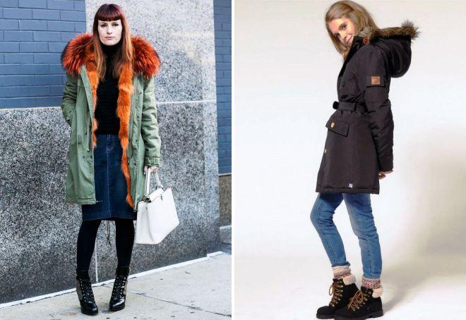 с чем носить длинную зимнюю куртку