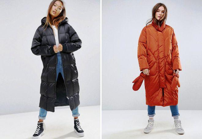 женские зимние длинные дутые куртки