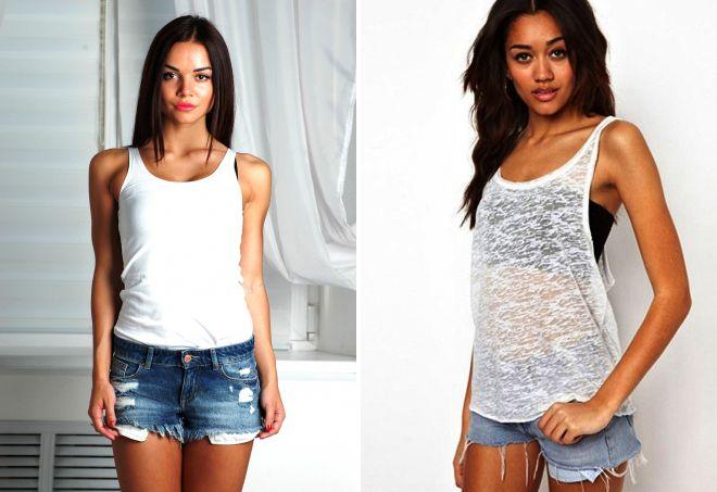 Модные женские майки – белые, серые и черные, спортивные и ... - photo#19