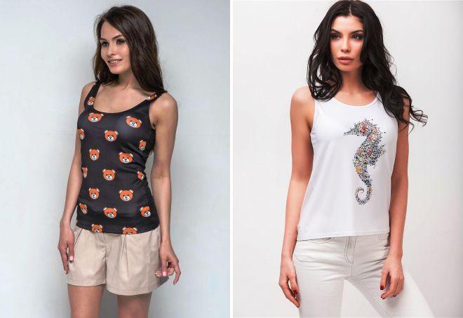 Модные женские майки – белые, серые и черные, спортивные и ... - photo#3